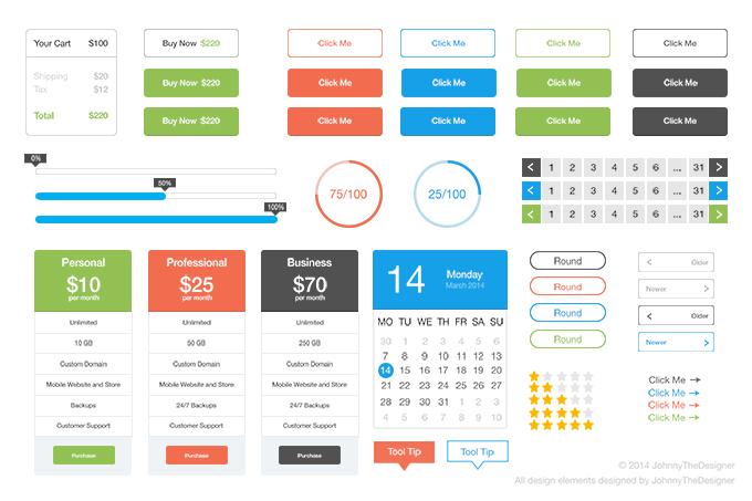 365psd Free Flat UI Kit