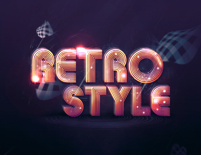 Abstract RETRO STYLE Text Effect Tutorial by James Qu